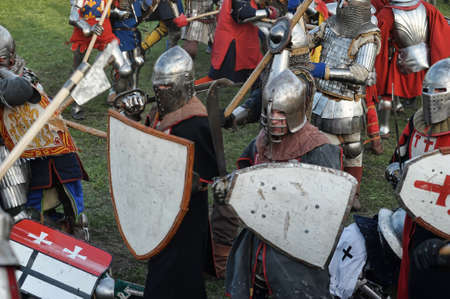 Knights in armor battle Stock Photo - 28186658
