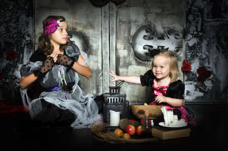 Two little halloween witches photo
