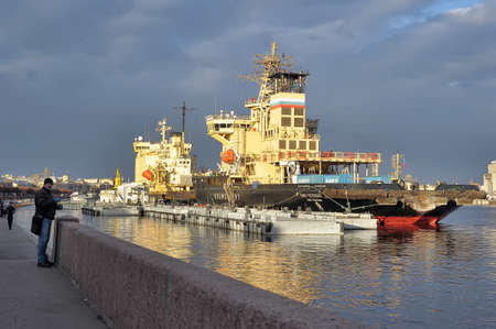 Icebreaker in the port, St  Petersburg, Russia