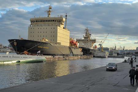 berth: Icebreaker in the port, St  Petersburg, Russia