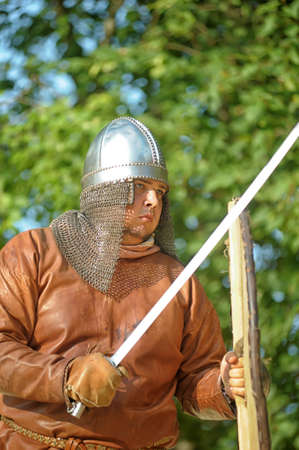 buckler: Viking leather shirt with sword, helmet and shield