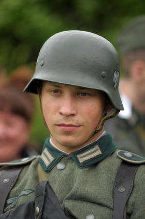 german fascist: soldiers in the German fascist form reconstruction