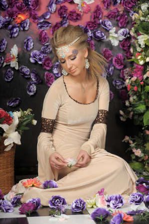 beautiful girl in medieval dress on the fantasy photo