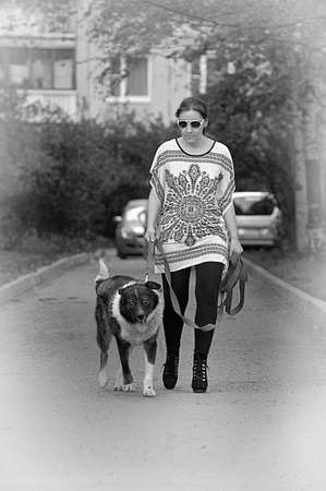 Woman with her dog photo