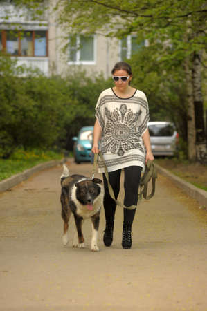 Woman walking with her dog  photo