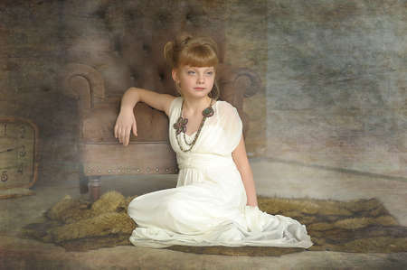draped: Girl in a white dress and a beautiful necklace Stock Photo