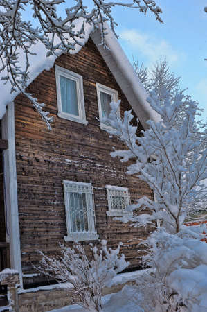Winter rural scenery. Wooden house and trees covered with snow. Christmas and seasonal specific concept.