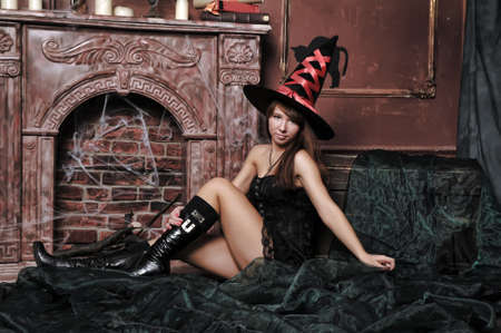 hairclip: Beautiful girl in a spooky house Stock Photo