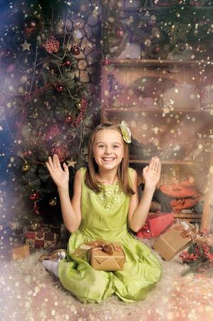 joy girl with christmas gift photo