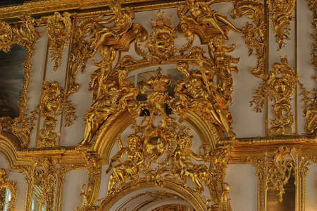 luxuriance: Gold stucco on the walls of the palace. Editorial