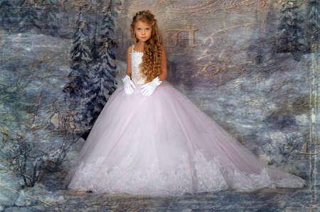 Little princess in white dress photo