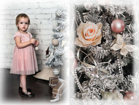 Little girl in a pink dress in retro Christmas interior. Stock Photo
