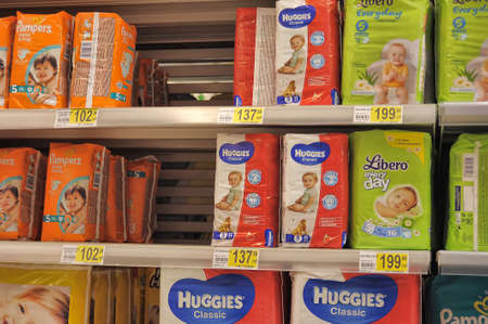 nappies: Diapers on supermarket shelves, in St  Petersburg, Russia