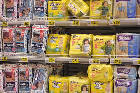 Diapers on supermarket shelves, in St  Petersburg, Russia