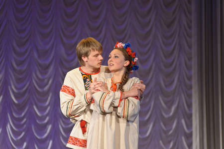 russian man: Russian man and woman in national costume
