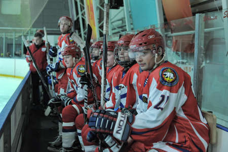 bodycheck: Hockey game, match to celebrate the Day of the Marine Corps, Russia, St. Petersburg. Editorial