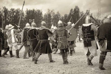 medieval battle sepia
