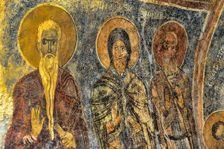 聖ニコラス教会、アンタルヤの壁に古いフレスコ画