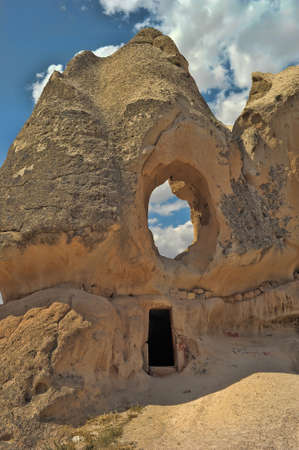 highlands region: Uchisar cave city in Cappadocia Turkey - nature background.