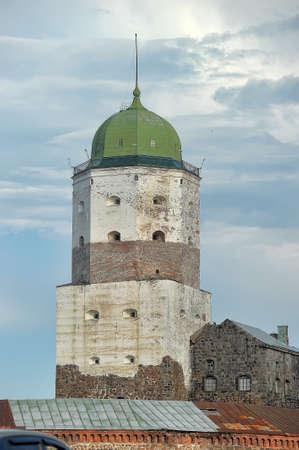 Tower of Scandinavian king Olaf of ancient town castle in town Vyborg, Russia. photo