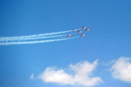 performs: Turkish Air Force Aerobatic Demonstration Team Turkish Stars performs during Izmir Independence Day  Editorial