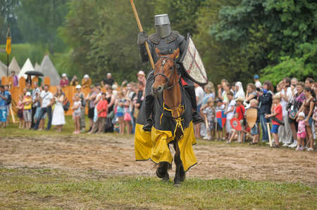 showmanship: Knight with lance on horseback