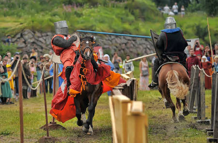 joust: Knight with lance on horseback