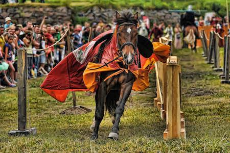jousting: Knight with lance on horseback