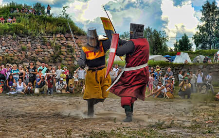battling: Days of medieval culture and festival Vyborg Thunder Siege, legendary events Thirteen Years  War, Vyborg, Russia