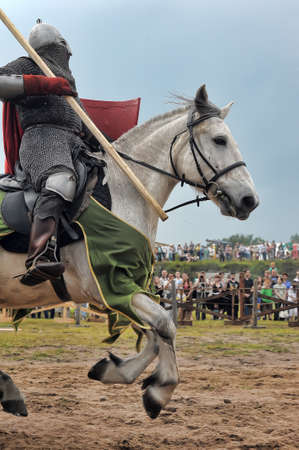 showmanship: Knight with lance on horseback