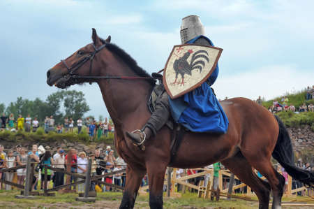 A knight riding fast horse