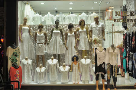 shop window with dresses made of cotton