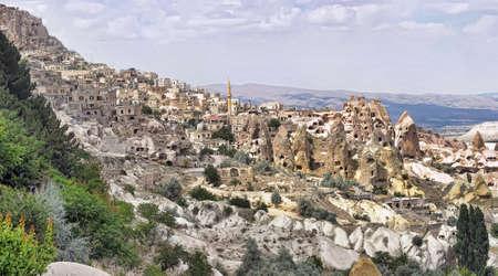 dwelling mound: View of orta hisar in cappadocia, turkey  Stock Photo
