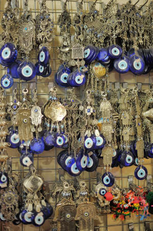 A pile of Glass Evil Eye Amulet, typical Turkish souvenirs use to protect against the evil photo