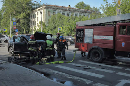 fema: Rescuers and FEMA had an accident around the car, Petersburg, Russia Editorial