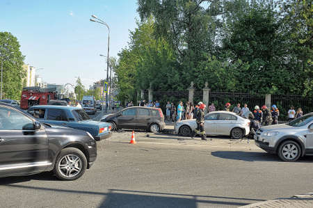 smashup: Rescuers and FEMA had an accident around the car, Petersburg, Russia Editorial