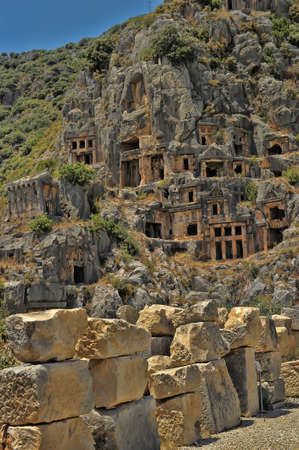 The Myara rock graves in Demre city from Turkey photo
