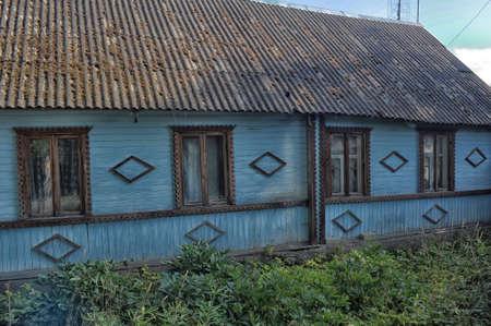 listvyanka: Russian blue wooden house