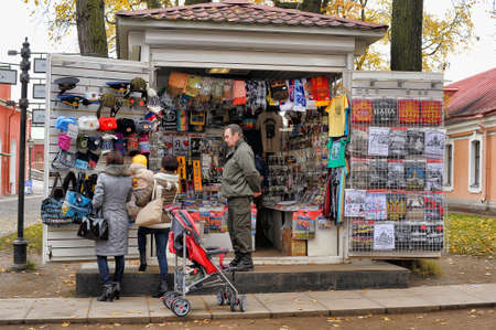 Shop with souvenirs, St. Petersburg, Russia.