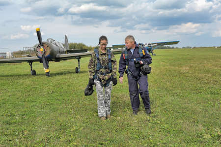 pinery: Instructions before skydiving in tandem, aviaklub Pinery, Russia. Editorial
