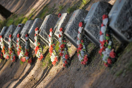 Cemetery of soviet soldiers that died in freeing. Stock Photo