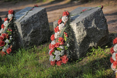 freeing: Cemetery of soviet soldiers that died in freeing. Stock Photo