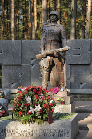 freeing: Soldier monument at the memorial cemetery WWII soldiers, Sestroreck, Russia.