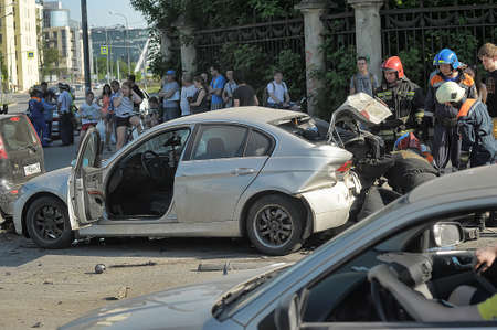 Rescuers and FEMA had an accident around the car, Petersburg, Russia.