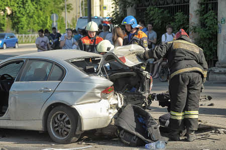 smashup: Rescuers and FEMA had an accident around the car, Petersburg, Russia. Editorial