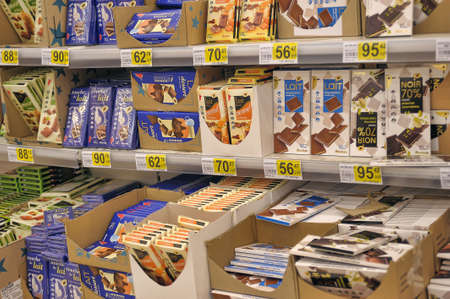 Chocolate on supermarket shelves, in St. Petersburg, Russia.