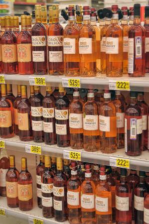 Wine on supermarket shelves, in St. Petersburg, Russia.