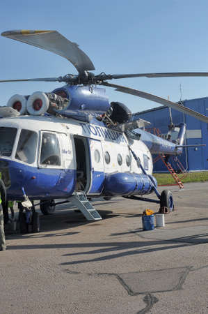 avia: White with blue police helicopter, St. Petersburg, Russia