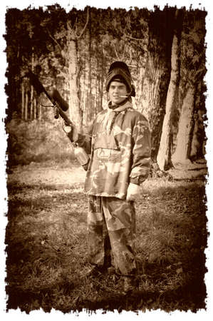 Paintball players in retro style photo