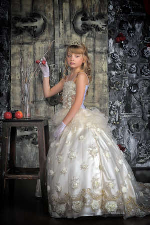 Little princess in white dress photo